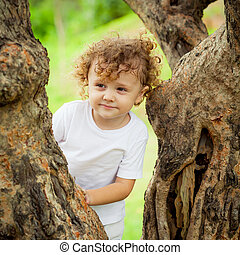 little boy sitting on the tree