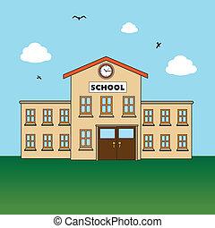 school design over landscape background vector illustration