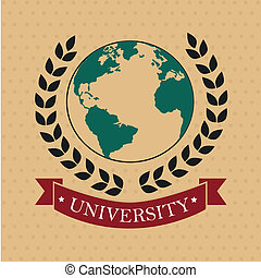 university label over dotted background vector illustration