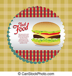 label burgerover tableclothes background vector illustration