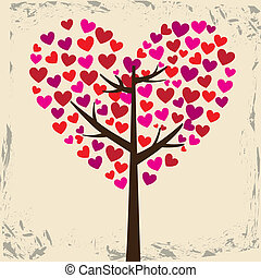 love tree design over pink background vector illustration