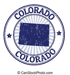 Colorado stamp - Grunge rubber stamp with the name and map...