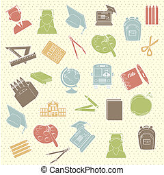 school supplies over dotted background vector illustration
