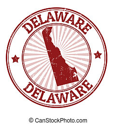Delaware stamp - Grunge rubber stamp with the name and map...