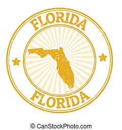 Florida stamp - Grunge rubber stamp with the name and map of...