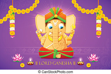 Lord Ganesha - illustration of statue of Lord Ganesha made...