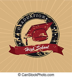 graduation label over lineal background vector illustration