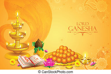 Lord Ganesha - illustration of statue of Lord Ganesha with...
