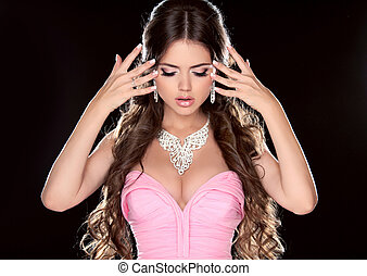 Beauty Woman Fashion Model Girl with Long Brown Hair showing...