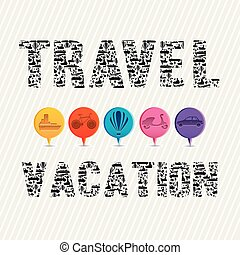 travel vacation over lineal background vector illustration