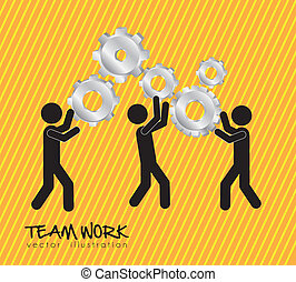 team work - teamwork design over lineal background vector...