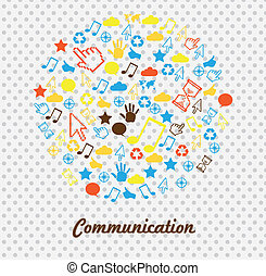 communications icons over dotted background vector...
