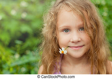 portrait of a girl with flower