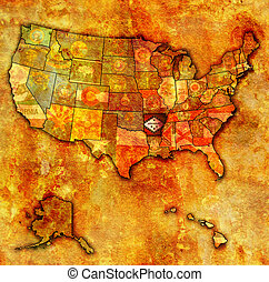 arkansas on map of usa - arkansas on old vintage map of usa...