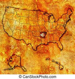 arkansas on map of usa - arkansas on old vintage map of usa...