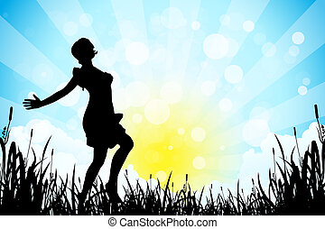 Nature Background with Girl Silhouette