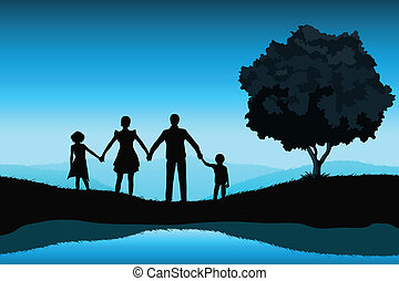 Nature Background with Family Silhouette