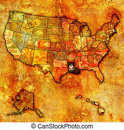 louisiana on map of usa - louisiana on old vintage map of...