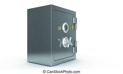 Opening Safe with the Key. Camera flying inside. HD 1080....