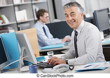 Handsome businessman sitting at his desk - Handsome...