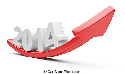 3D arrow with year 2014 growth upward, isolated on a white...