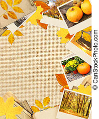 Frame with autumn leaves and photos. Objects over canvas...