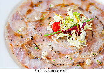 Close up of cod carpaccio. - Extreme close up of cod fish...