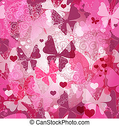 Seamless valentine pattern with butterflies - Seamless...