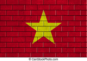 Vietnam flag painted on a brick wall