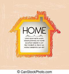 home design over pink  background vector illustration