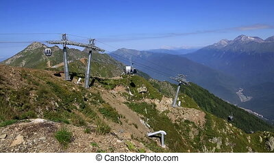 "Gondola lift to the observation deck ""Rose Peak"" in Krasnaya..."