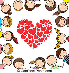 kids love over white background vector illustration