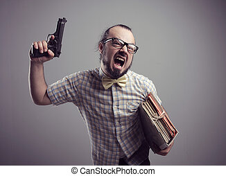 Crazy office worker - Office worker shouting with a gun on...