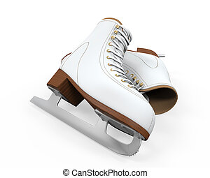 White Figure Skates Isolated on white background 3D render