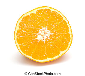 Lobule of fresh orange isolated on white background
