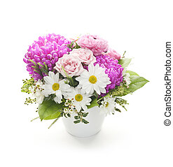 Flower arrangement - Bouquet of colorful flowers arranged in...