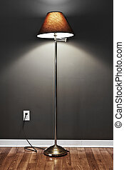 Floor lamp - Tall floor lamp with metal base and dark...
