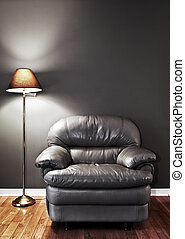 Armchair and floor lamp - Leather chair and floor lamp...