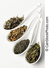 Different sorts of green tea; from left to right: white cui...