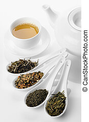 Different sorts of green tea and cup and teapot - Different...