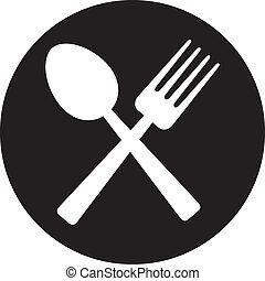 crossed fork and spoon food icon, food symbol