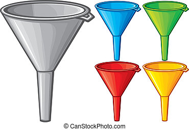 illustration of funnel plastic funnel for domestic use,...