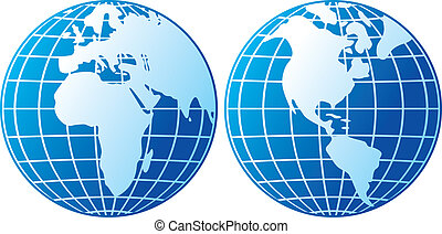 globe icon (globes showing earth with all continents, world...