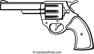 handgun (pistol vector, pistol gun, old revolver)