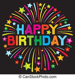 Feliz, aniversário, fogo artifício