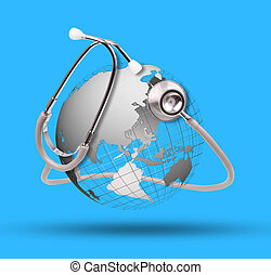 world globe and stethoscope use for healthy care topic