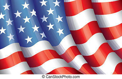 USA flying flag vector - United States of America flying...