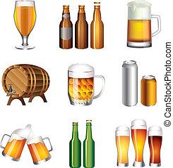 cerveza, botellas, tazas, vector, Conjunto