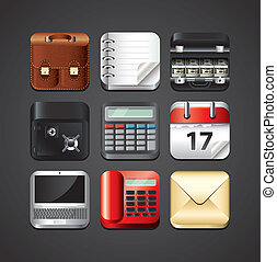 business apps icons for mobile devices detailed vector set