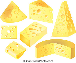 cheese photo-realistic vector set - different types of...